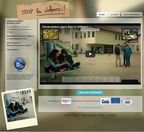 Stop la violence, un sérious game en ligne pour lutter contre le harcèlement.